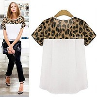 Tp Sky Women's Leopard Casual Plus Size Short Sleeve Chiffon Blouse Shirt (L, Black)