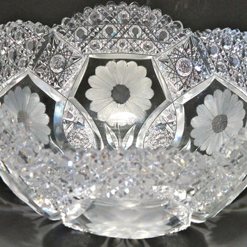 American Brilliant Period Hand Cut Glass Antique bowl FROSTED FLOWER abp