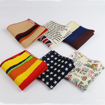 Men's Vintage Style Cotton Linen Handkerchief Floral Striped Map Flag Pocket Square 22*22cm Hankies Towel Casual