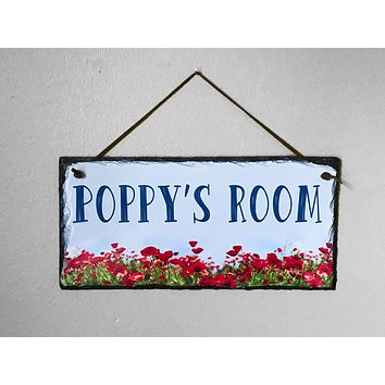 Customizable Slate Home Sign - Girls Name Door Plaque - Handmade and Personalized