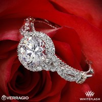 14k White Gold Verragio Braided Halo Diamond Engagement Ring