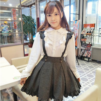 The Original Japanese School Uniform Gothic Lolita Gold Stripes Flying Sleeve Soft Sister Waist Body Dress With Shoulder Straps