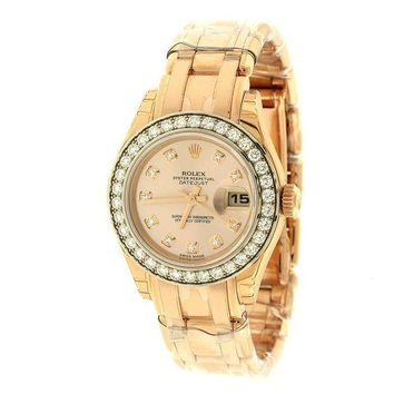VONE7JZ Rolex Lady Datejust Champagne Dial 18K Pink Gold Automatic Watch 179175CRJ