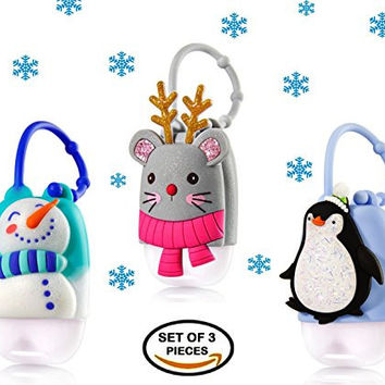 Christmas Holiday Pocketbac Holders - Snowman + Penguin + Mouse with Reindeer Antlers -- Set of 3 winter pocketbac holders for Bath & Body Works 1.0 oz anti-bacterial hand sanitizer pocketbac gel