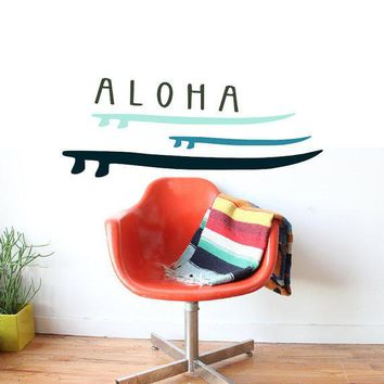 Hawaiian Londboard Surfboard Surf Art   Aloha Sticker Wall Decal   Paradise Inspired   Vinyl Removable Surface Graphics By 3rd Ave Shore