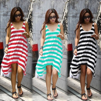 Women Beauty Summer Casual Elegant Sexy Stripe Irregular Beach Long Dress 16368 One Size Vestidos = 5657585921