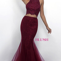 Blush Two-Piece Long Lace Prom Dress