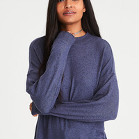 AE Soft & Sexy Plush Mock Neck Sweatshirt, Navy