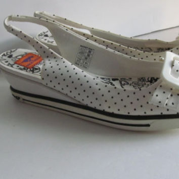 Rocket Dog Square Toe sz 6.5 Black and White Polka Dot Sandals Big Buckle Shoes Flapper Style Shoes