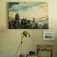Large Canvas Print Photography Fine Art Print Atlanta Photography Atlanta Skyline Print Atlanta Art Georgia Art Canvas Cityscape Watercolor