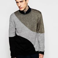 ASOS Colour Block Jumper with Metallic Yarn