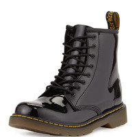 Delaney Patent Leather Military Boot, Black, Youth - Dr. Martens