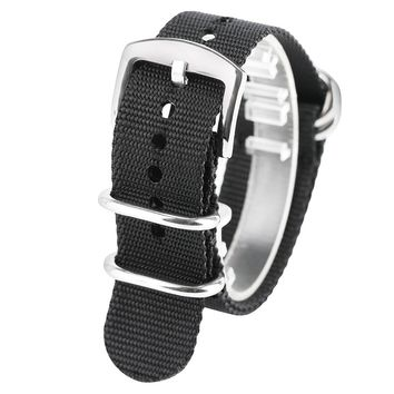 20/22/24mm Military Silver Steel Pin Buckle Watch Band Outdoor Bracelet High Quality Black/Army Green Nylon Sport Strap