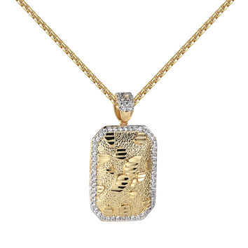 """Nugget Style Dog Tag Pendant 14k Yellow Gold Finish Free 24"""" Chain Necklace Charm Set"""