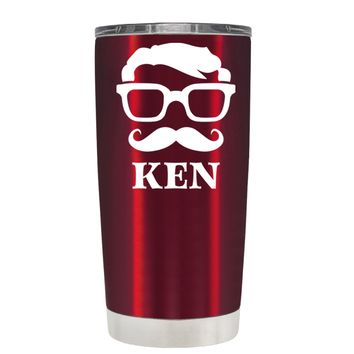 TREK Personalized Mustache Groomsmen on Translucent Red 20 oz Tumbler Cup