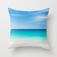 Coastal Decor Throw Pillow Beach Cottage Living Room Teal Turquoise Aqua Beige White Nautical Decor Tropical Beach Abstract Photo Pillow