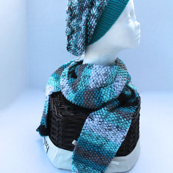 Knit Slouchy Beanie Hat with Scarf - Adult or Teen - Teal multi
