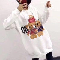 """Moschino"" Women Casual Fashion Letter  Bear Cartoon Print Long Sleeve Middle Long Section Hooded Sweater Dress"