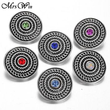 10pcs/lot New Snap Jewelry Vintage Alloy Round Rhinestone Snap Buttons with Copper Button fit Silver Snap Bracelet Bangles