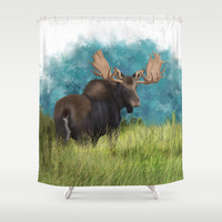 Moose  Shower Curtain by North Star Artwork