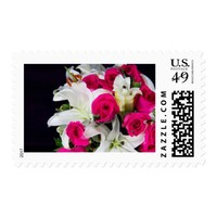 Pink Roses & White Lilies Bouquet Postage