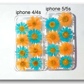 Handmade iPhone 4/4s & 5/5s case, Resin with Dried Flowers, Turkey Blue and orange Daisy