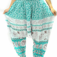 Sweet light blue baby Bohemian Drop Crotch Pants Yoga Gypsy Harem Wide Legged Pants boho dance pants arabic