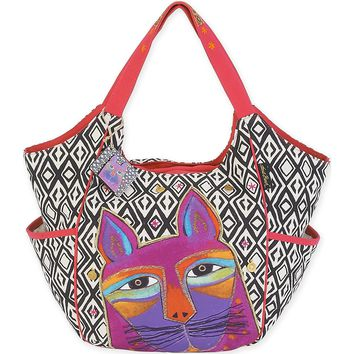 """Scoop Tote 20""""X6""""X12.5""""-Whiskered Cats - Fuchsia"""