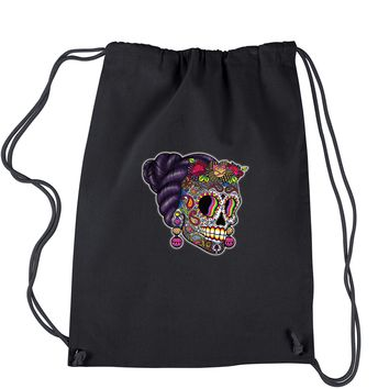 Skull With Hair Day Of The Dead Drawstring Backpack