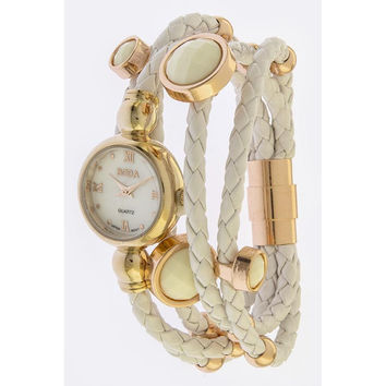 White & Rose Gold Braided Layered Stone Accent Watch