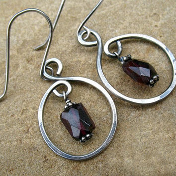 Garnet Earrings, Sterling Silver Hoop Earrings,  Ruby Red Jewelry