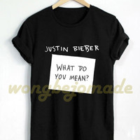 Justin Bieber Shirt What Do You Mean? Song Black and Navy Color Tshirt