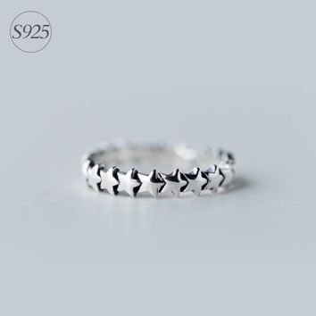 Retro Cute Solid 925 Sterling Silver Adjustable Stackable Stars Ring Jewelry GTLJ720
