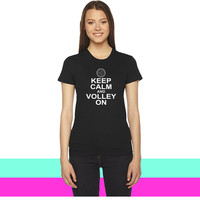 keep calm and volley on women T-shirt