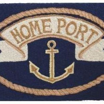 Door Mats Outdoor Rugs Kitchen Rugs Nautical Decor Doormat Hooked Rug Look 2 ft. x 3 ft. Anchor