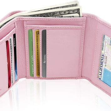 Genuine Leather Slim Trifold Coin Wallet