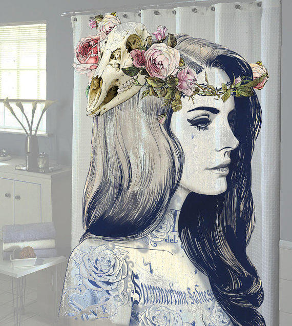 Lana del rey tattoo shower curtain new from for How to shower with a new tattoo