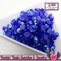 200 pcs 5mm AB Dark Blue Jelly RHINESTONES