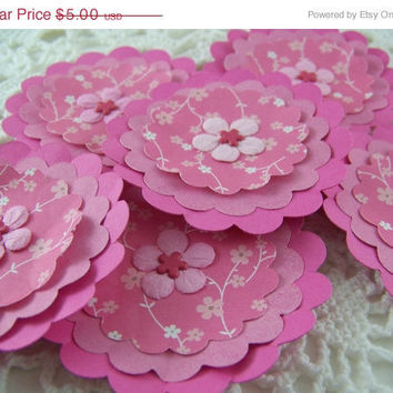 CIJ Paper Flower Posies for Scrapbooking Card Making Altered Art Pink Floral Embellishments