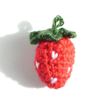 Crochet Strawberry Knit Strawberry Play Food Play Kitchen Play House Crochet Amigurumi Felt Strawberry Charm Strawberry Keychain Necklace