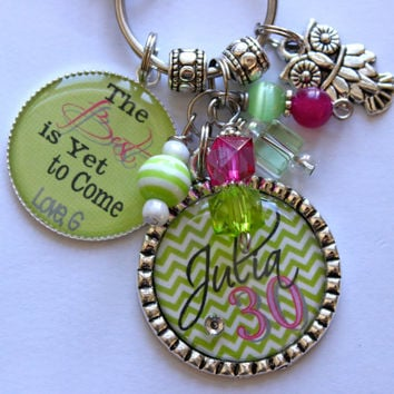 Personalized 30th birthday keychain childrens name nana mother gift sister aunt grandma daughter milestone birthday lime green and hot pink