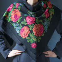 Vintage boho peasant Russian scarf black red green blue floral scarf folk for autumn breeze