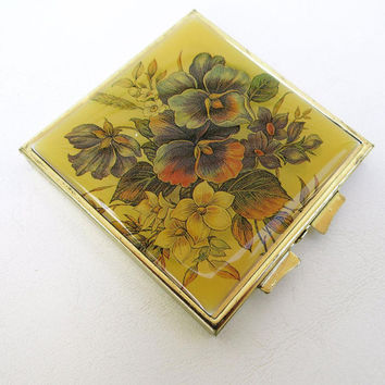 Vintage Pill Box, Enamel Case, Pill Organizer, Purse Compact, Ladies Travel Accessory