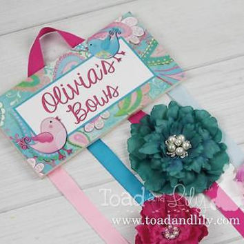 HAIR BOW HOLDER Personalized Paisley Birdie HairBow Bows Clips Organizer HB0003