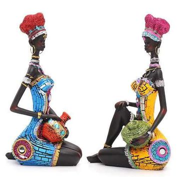 Exotic African Tribal Woman Resin Statue