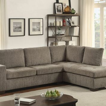 2 pc Calby lane collection grey chenille fabric upholstered sectional sofa set with pull out sleeper sofa