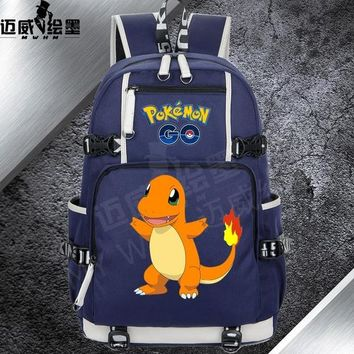 Anime Backpack School 2018 kawaii cute Pokemon Pocket Monster Kawaii Pikachu Gengar Charmander backpack Women men Canvas School Bags Teenage Girl Backpacks AT_60_4