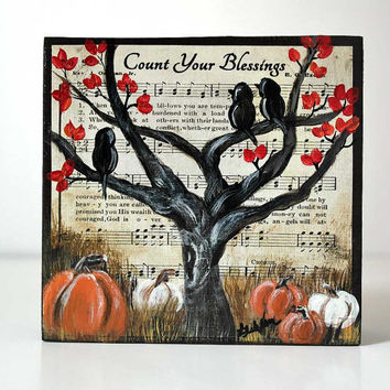 Fall Art Shelf Sitter Original Painting on Wood Count Your Blessings Hymn Art Birds Painting Bird Painting Pumpkin Painting Harvest Time