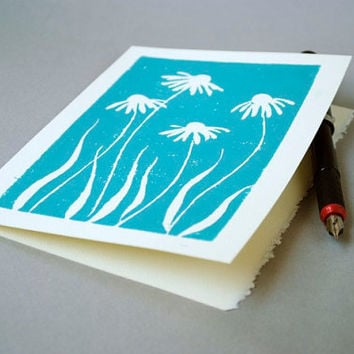 Daisy Blank Notecards - Turquoise Blue Block Print Card