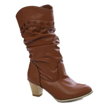 Suede Mid-Calf Boots With Pleated and Engraving Design